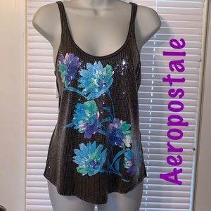 Razor Back Tank Top with sequins